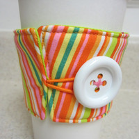 Bright Stripes Coffee Cozy by LibbyandLee on Etsy