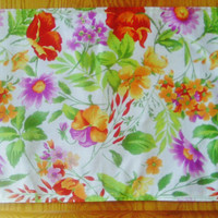 Fabric Placemat Floral Pattern Spring Summer Daisy Poppy Pansy Set of Two