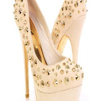 Beige Gold Faux Suede Studded Hardware Platform Color Sole Heels @ Amiclubwear Heel Shoes online store sales:Stiletto Heel Shoes,High Heel Pumps,Womens High Heel Shoes,Prom Shoes,Summer Shoes,Spring Shoes,Spool Heel,Womens Dress Shoes,Prom Heels,Prom Pump