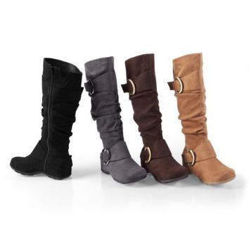 Brinley Co Buckle Accent Slouchy Mid-calf Boots