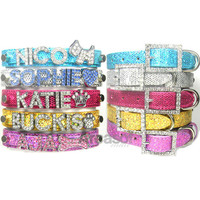 Shiny Pailette Dog Cat Personalized Name Rhinestone Bling Pet Collar, XS S M L XL