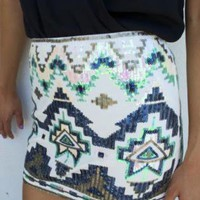 Aztec Sequin Mini Skirt