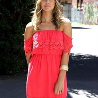 Watermelon Off the Shoulder Dress with Lace Trim