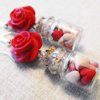 Bottled hearts earrings with a red polymer clay rose