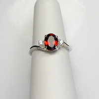 Natural Garnet & Sapphire Sterling Silver Ring FREE RE-SIZING January Birthstone