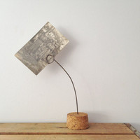 Card Holder - Picture Holder - Note Holder - Wire and Cork - Shabby Chic Decor