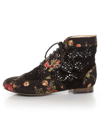 Privileged Liz Black Floral Fabric & Crocheted Spectator Booties