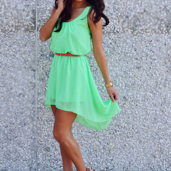 Can't Wait To Be Seen Dress: Neon Green | Hope's