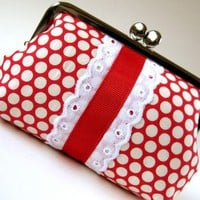 Snap purse polka dots on red with lace and ribbon by oktak