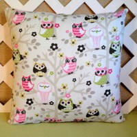 Out on a Limb Baby Owls Pillow Cover in Pink, Green, and Black