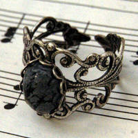 Snowflake Obsidian and Silver Ring - &amp;#36;17.00 : RagTraderVintage.com, Handmade Indie Retro Accessories
