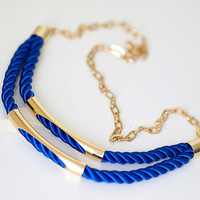 Navy Blue Nautical Cord Necklace with golden chain and by pardes
