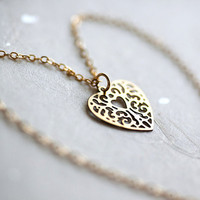 My Heart 14k gold fill chain Necklace with tiny pendant by pardes
