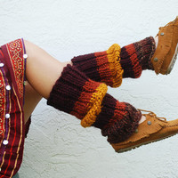 Autumn Inspired Hand Knit Leg Warmers Wool Blend by RememberADay