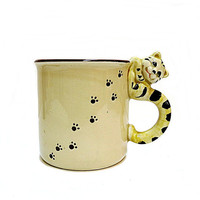 Vintage Tiger Cat Mug 1970s Japan Cat Handle