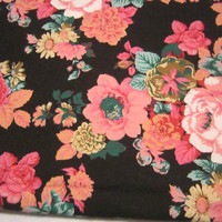 Cotton Fabric with Beautiful Peach Roses and other Flowers