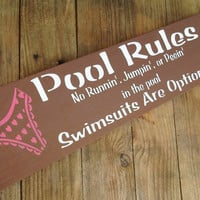 Swimming Pool Rules Sign Pool Decoration Funny by AndTheSignSays