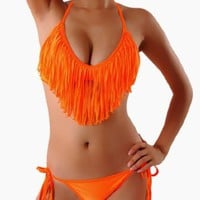Amazon.com: Cloris Murphy Sexy Fringed Tassel Orange Triangle Bikini Halter Top & Bottom Swimwear Bathing Suit BN912OR M & L size Orange: Clothing