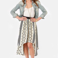 Sacred Geometry Cream Tribal Print High-Low Skirt