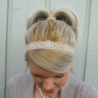 Nude stretch lace headband  thin headband  by VintageBowBoutique