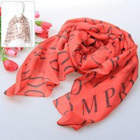 New Style Women's Fashion Silk Scarves Ladies' Spring Autumn Winter Salable Soft Chiffon Wraps (Orange)