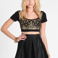Golden Night Studded Crop Top - $28.00 : ThreadSence, Women&#x27;s Indie &amp; Bohemian Clothing, Dresses, &amp; Accessories