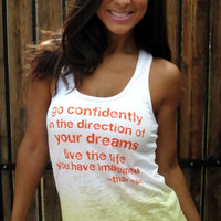 Go Confidently in the Direction of Your Dreams...A-Line Ombre Burnout Tank.  Size SMALL.
