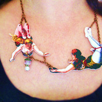 Circus Necklace For Her Acrobats In Love by whatanovelidea on Etsy