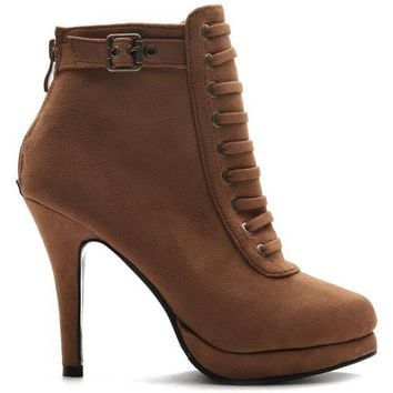 Ollio Womens Faux-Suede Military Lace Ups High Heels Buckle Ankle Boots Shoes