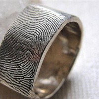 Fingerprint Ring Wedding Band in Sterling Silver