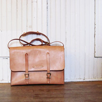 Tan Leather Messenger Bag Satchel - Made to Order