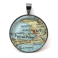 Vintage Map Pendant of Haiti with by CarpeDiemHandmade on Etsy