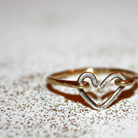 lacerta -  14k gold &amp; sterling heart stacking ring by lilla stjarna - gifts under 50 - Valentine&#x27;s Day - gold heart ring - wedding ring