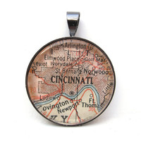 Map Pendant of Cincinnati Ohio in by CarpeDiemHandmade