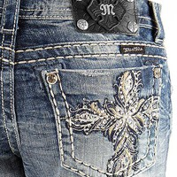 Miss Me Cross Cuffed Straight Stretch Jean - Women's Jeans | Buckle