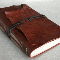 Large Leather Journal Brown HandBound 6 x 9 by TheOrangeWindmill