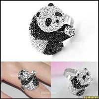 Lovely Cute Bling Full Crystal Rhinestone Panda Ring Adjustable