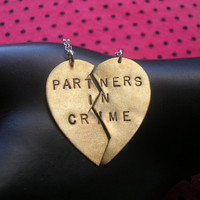 PARTNERS IN CRIME--Best Bitches, Best Friends Charm Necklaces, Split Heart Necklace, Handstamped Necklace, Thick as Thieves, Sisters
