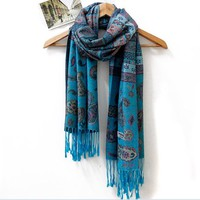 Cheap office lady blue costume style cotton autumn winter scarf shawl sw0114 [sw0114]- US$18.00 outlet free shipping with top quality - scarves4ever.com