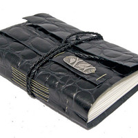 Embossed Black Leather Journal with Bookmark