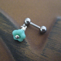 Tragus Earring- Sea Foam Rose Cartilage Stud Pastel Mint Green Bell Flower Ear Post 16g 16 G Gauge Bar Barbell