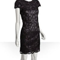 Suzi Chin black sequined cap sleeve scalloped shift dress | BLUEFLY up to 70% off designer brands