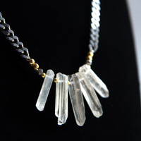 Raw Crystal Necklace,  Crystal Quartz Queen Statement Bib Necklace