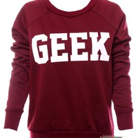 LADIES WOMENS GEEK PRINT LONG SLEEVES CREW NECK JUMPER SWEATER TOP SIZE 8 10 12