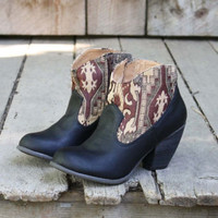 The Cooper Kilim Bootie in Black, Sweet Country Inspired Shoes