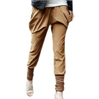 Allegra K Woman Elastic Waist Baggy Pockets Harem Pants Trousers Brown S