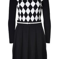M Missoni - Black/White Belted Cotton Knit Dress with Diamond Pattern