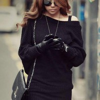 Korean Women&#x27;s Solid Black Mini Sweater Dress Long Tops Sexy Boat Neck