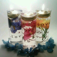 Valentine&#x27;s Day Candles, Floating Candle Centerpieces, Flower Centerpiece, Love