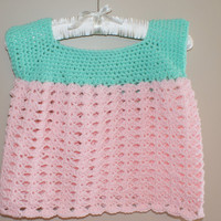 Crochet Baby Dress, Infant Dress, Girl Baby Clothes, Crochet Baby Clothes, Pink Baby Dress, Mint Green Dress, Easter Dress, Spring Apparel